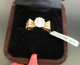 انگشتر طلا برلیان فانتزی طرح فلاور مسی رنگ